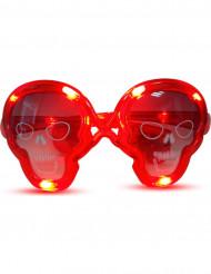 Lichtgevende rode doodskop zonnebril