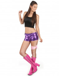 Glimmend paars disco shorty voor vrouwen
