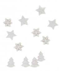 Set 12 witte tafeldecoraties Kerstmis 2.5 cm