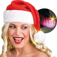 Kerstmuts met pompon lichtgevend voor volwassenen