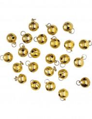 Goudkleurige kerstbellen als versiering