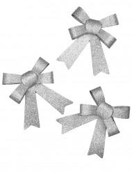 3Vlinderstrikken zilverkleurig