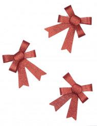 3 Vlinderstrikken rood met glitters