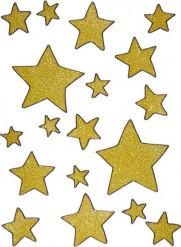 Goudkleurige sterren voor raamversieringen
