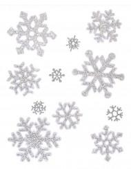 Raamversiering voor Kerstzilverkleurige sneeuwvlokken