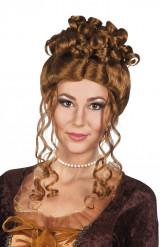 Pruik renaissance bruin voor dames
