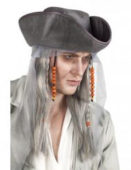 Grijze piraten pruik voor heren