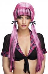 Roze pruik met staarten voor vrouwen