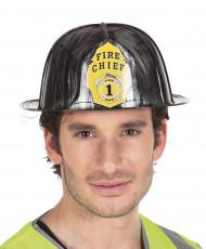 Zwarte brandweerhelm