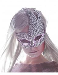 Zilverkleurig mozaïc Venetiaans masker voor volwassenen