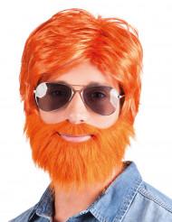 Oranje ginger pruik met baard en snor