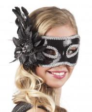 Venetiaans masker met zwarte bloem voor volwassenen