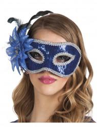 Venetiaans masker met blauwe bloem voor volwassenen