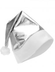 Metallic zilverkleurige muts voor volwassenen Kerst