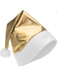 Kerstmuts mettalic goudkleurig voor volwassenen