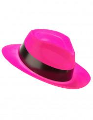 Fluo roze gangster hoed voor volwassenen