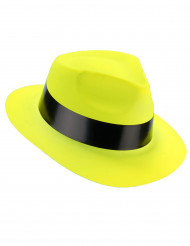 Fluo geel gangster hoed voor volwassenen