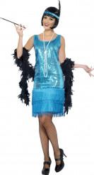 Blauwe cabaretkostuum voor dames