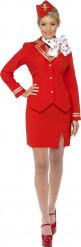 Rood stewardessen kostuum voor vrouwen