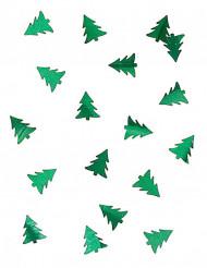 Tafelconfetti metallic groene kerstbomen