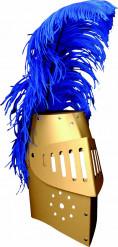 Goudkleurige ridderhelm van karton met pluim voor kinderen