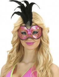 Roze en gouden masker met veren voor volwassenen