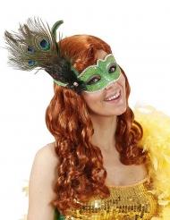 Groen masker met pauwenveren voor volwassenen