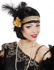 Charleston hoofdband goudkleurig met lovertjes voor vrouwen