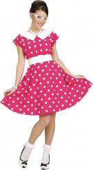 Roze jaren 50 jurk met witte stippen