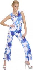 Blauwe disco kostuum voor vrouwen