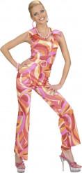 Roze disco kostuum voor vrouwen