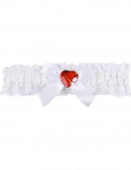 Sexy rood hart jarretel van wit kant voor vrouwen