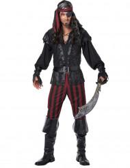 Zwart piraten kostuum met nepleer voor mannen