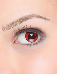 Rode contactlenzen met zwarte propeller