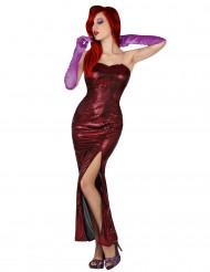 Kostuum van Jessica, rood sexy spleet jurk