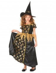 Zwart gouden heksen kostuum voor meisjes