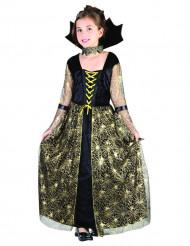 Goudkleurig spinnenweb heksen kostuum voor meisjes