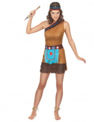 Beige en lichtblauwe indiaan outfit voor dames