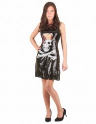 Piraat doodskop jurk met glitters voor vrouwen