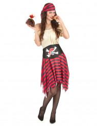 Gestreept tweekleurig piraten kostuum voor vrouwen