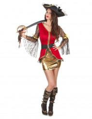 Goudkleurig sexy piraten kostuum voor dames