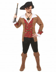 Bruin barok piraten kostuum voor heren