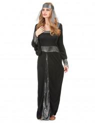 Zwart en zilverkleurig middeleeuwse Lady kostuum voor vrouwen