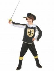 Zwart en goudkleurig musketier kostuum voor jongens