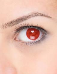 Cosmetische contactlenzen met rood raster
