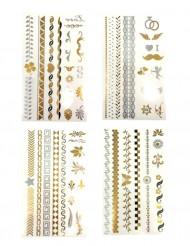Goud- en zilverkleurige tatoeages vel