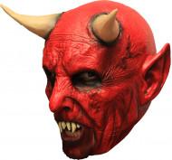 Rode duivel masker met hoorntjes voor volwassenen