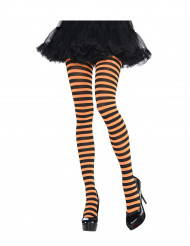Oranje en zwarte panty voor volwassenen