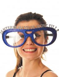 Blauwe glitter bril vrijgezellenfeest