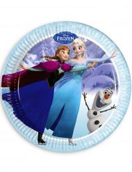 8 blauwe Frozen™ borden 23 cm